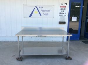 All Stainless 72 Work prep Table W backsplash Guard 3075