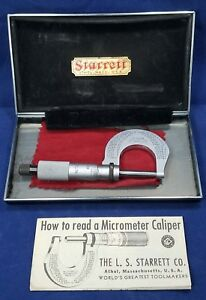 Starrett T230 Vintage Micrometer Caliper With Case Instructions