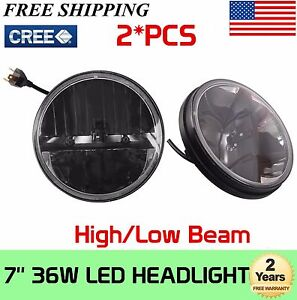 2x 7inch 36w Round Led Headlight Projector Hi lo Beam Cree For Jeep Wrangler Jk