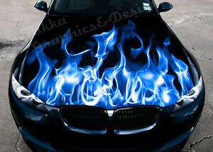 Vinyl Car Hood Wrap Full Color Graphics Decal Blue Fire Burning Flame Sticker