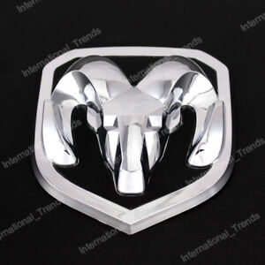 Silver Tailgate Emblem Front Grille Rams Head For 13 18 Dodge Ram 1500 2500 3500