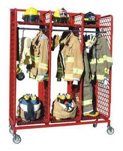 Groves Rmss 3 24 Turnout Gear Rack mobile 3 Compartment