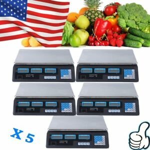 5x Digital Weight Scale 88lb Price Computing Food Meat Scale Produce Indutrial O