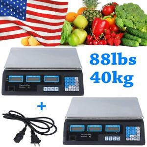 2pcs Digital Weight Scale 88lb Price Computing Food Scale Produce Deli Indutrial
