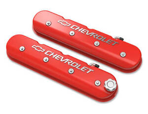 Holley 241 404 Tall Ls Valve Cover With Bowtie Chevrolet Logo Gloss Red Mac