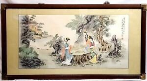 70 X 38 Chinese Figural Playing Game Ink Watercolor Painting Silk Rice Paper