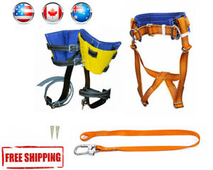 Tree Climbing Spike Set safety Belt With Straps lanyard Carabiner Avia Shipping