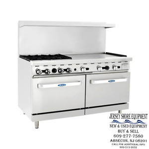 Atosa Ato 4b36g 60 Gas Range 4 Open Burners 36 Griddle W Two 26 Wide Oven