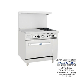 Atosa Ato 2b24g 36 Gas Range 2 Open Burners 24 Griddle W One 26 Wide Oven