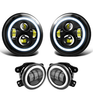 For Jeep Wrangler Jk 07 17 Halo Led Headlight Halo Led Drl Fog Light Combo Kit