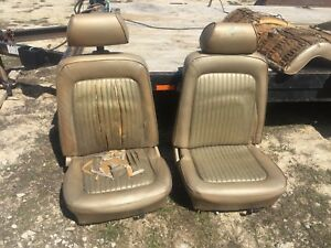 68 69 1970 Ford Mustang Fastback Front Bucket Seats With Head Rest And Tracks
