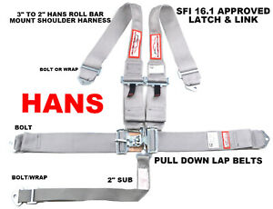 Hans Racing Safety Harness Sfi 16 1 Racing 5 Point Roll Bar Mount 3 Latch Grey