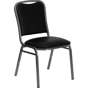 Heavy Duty Black Vinyl Stackable Office Guest Reception Waiting Room Chair 500lb