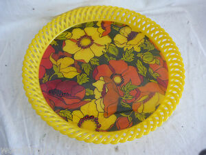 Vintage Mid Century Danish Modern Floral Yellow Serving Tray Biodrak Greece