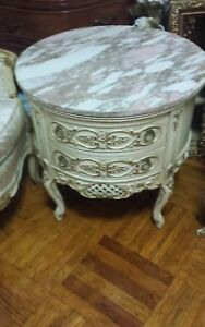 Shabby Chic French Provincial Coffee Table Marble Round Side Table