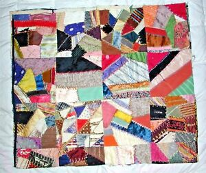 Fabulous Vibrant Colorful Vintage Antique Crazy Quilt Top Satin Silk Velvet