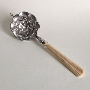 Antique Silver Tea Strainer Spoon Austria Or Germany 18th Century 13 Loth
