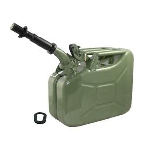 Wavian Nato 2 Gallon 10 Liter Steel Metal Jerry Fuel Gas Can Green W Nozzle