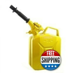 Wavian Nato 1 Gallon 5 Liter Steel Metal Jerry Fuel Gas Can Yellow W Nozzle