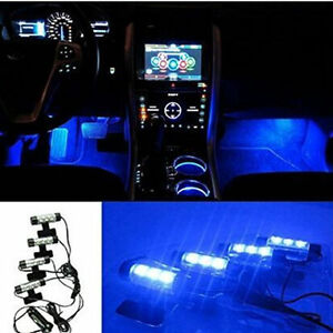 4x 3led Car Floor Decorative Light Strip Auto Interior Accessory Atmosphere Lamp