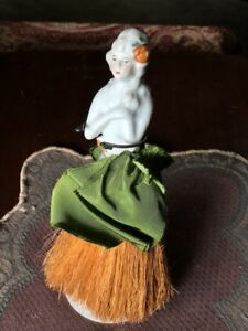 Antique Porcelain Half Doll Whisk Broom Vanity Figure Grey Hair Flower Free Sh