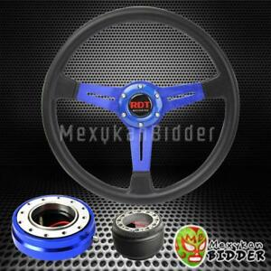 14 Black Blue Steering Wheel Blue Quick Release Hub For Honda Civic 92 95