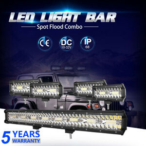 42 Inch 3360w 3 Row Led Work Light Bar Spot Flood Combo Offroad Suv Lamps 40 44