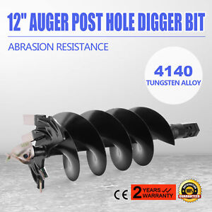 12 Auger Post Hole Digger Bit Skid Steer Attachment Sharp Mucking Drill Bit