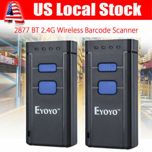 2pcs Mj 2877 Portable Wireless Bluetooth Barcode Laser Scanner For Apple Android