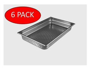 Starkcook 6 Pack Steam Table Pan Perforated 1 1 X2 1 2 stainless Steel stpf222p