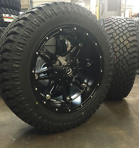 20 20x10 Fuel Hostage Black Wheels 33 At Tires Package 8x6 5 Chevy Gmc 8 Lug