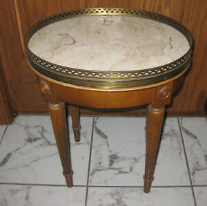 Antique French Marble Top And Brass Small Side Table
