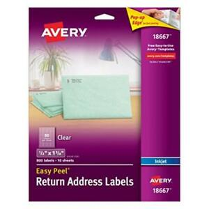 Pack Of 800 Avery Clear Easy Peel Return Address Labels 1 2 X 1 3 4 18667 Ne