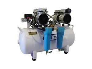 New 2 Hp 12 Gallon Noiseless Oil Free Dental Air Compressor W Dryer 110v