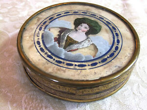 Box In Treats Early 19th Portrait Of Lid In Fixed Under Glass