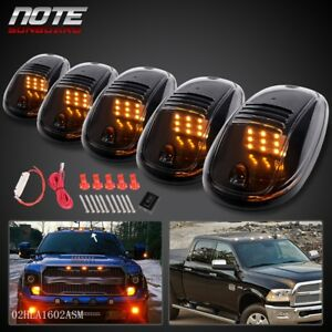 5x Roof Top Cab Clear Lights 9 Amber Led Marker Lamps W Wiring Kit