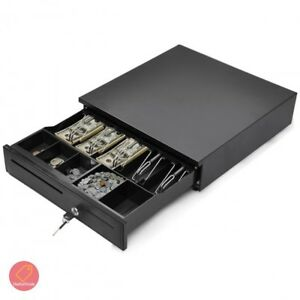 Cash Drawer Organizer Register Box Money Tray Lock Compartment Coin And Bill