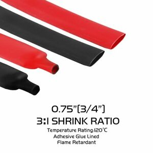 25ft each Black red 3 4 Retractable Heat Shrink Tube Sleeve Terminals Connector