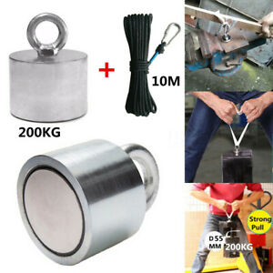 55x40mm Neodymium Recovery Magnet Metal Detector 200kg Hunting Fishing 10m Rope