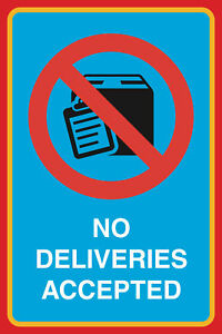 No Delivieries Accepted Print Box Clipboard Large Window Sign 2 Pack 12x18