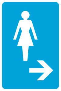Ladies Room Right Arrow Pictue Large Blue White Restroom Sign 2 Pack 12x18