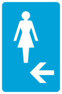 Ladies Room Left Arrow Pictue Large Blue White Restroom Sign 2 Pack 12x18