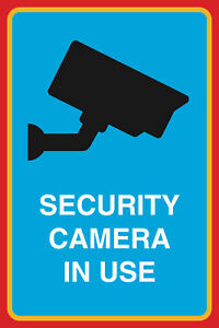 Security Camera In Use Print Video Camera Large Notice Sign Aluminum 12x18