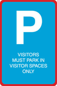 Visitors Must Park In Visitor Spaces Only Print Blue White Street Large 12x18