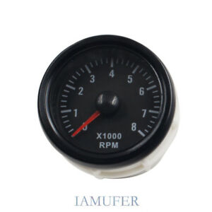 Led Elec 2 52mm Rev Tacho Gauge Meter Tachometer 0 8000 Rpm Car Motor