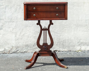Mahogany Regency Antique 1940 S Lyre Two Drawer Night Stand