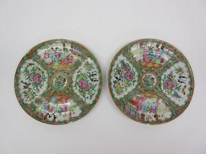 Two Antique Chinese Rose Medallion Porcelain Charger Dinner Plates 10 1 8