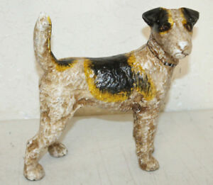 Heavy Antique Style Cast Iron Terrier Dog Bank Door Stop Hubley