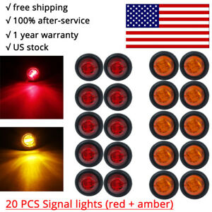 20x Red Amber Mini 12v 3 4 Round Marker Light Clearance 3 Led Bullet Singal