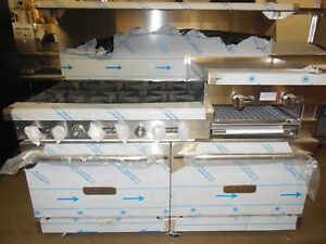 Royal 60 Range With 6 Burners And 24 Griddle 2 Std Ovens Nat Gas